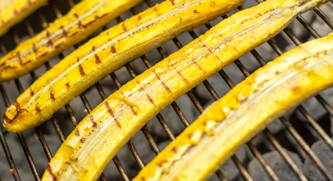 Grilled Plantain Spears With Crushed Peanuts Recipe — Dishmaps